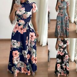 Women Boho Floral Strappy Maxi Dresses Lady Summer Holiday Party Evening Dress $23.99