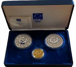 Athens 2004 Olympics 3 Gold-silver Proof Coin Set Collection With Certification