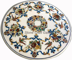 48 Marble Coffee Center Table Handmade Floral Handicraft Inlay Home Decor