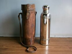 Rare Vintage The Icy-hot Bottle Co Brass Thermos Of 50's Cincinnati, O. U.s.a.