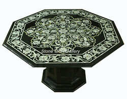 42 Marble Table Top Semi Precious Multi Stones Inlay With Marble Stand