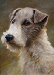 19th Century Portrait Of An Airedale Terrier Dog Antique Oil Painting N BARKER