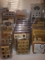 Stampinand039 Up Huge Lot Of 29 Sets Wood Mounted Rubber Stamps Most Are New Free Sh