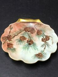 """Vintage Hand Painted Shell 6"""" Dish Sign R. Merrell"""