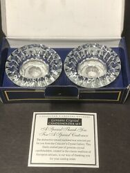 Vintage Pr Crystal Candle Holders Collector's Crystal Gallery Indonesia Box