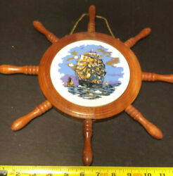 Antique Ships Wheel Cheese Cutting Baord Wall Hanger With Lithograph Round Tile