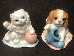 """Vintage Hand Painted Porcelain Cat And Dog Candle Stick Holders 3.5"""" Taiwan"""