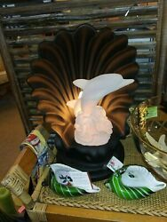 Nautical Novelty Shell And Dolphin 3-way Motion Lamp 16 Tall