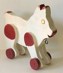 Antique Folk Art Childs Pull Toy Red Spotted Dog On Wheels Painted Wood Dad Made