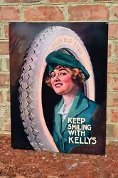 Old Style Kelly Tire Girl Springfield Rubber dealer Steel Sign Usa Made Mint