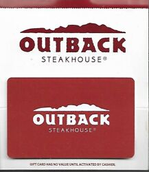 Outback Steakhouse Gift Card - No Value On Card
