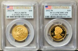 2012-w 10 Caroline Harrison 2pc Set Spouse Ms70 Pr70 Dcam First Strike Pcgs