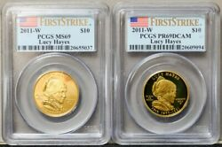 2011-w 10 Lucy Hayes 2pc. Set First Strike Ms69 Pr69 Dcam Pcgs 19th Spouse Gold