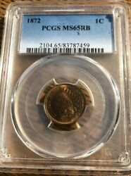 1872 Indian Head Cent Pcgs Ms 65 Rb Red Brown