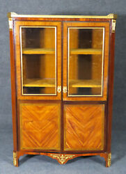 Rare French Louis Xv Dore' Bronze Mounted Marble Top Bookcase Biblioteque C1890s