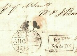 India Maritime Cover Framed Ship Letter Rate Mark C1809 Calcutta Gpo Oval W279