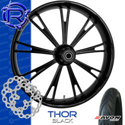 Rotation Thor Black Custom Motorcycle Wheel Front Package Harley Touring 23