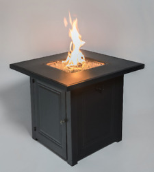 Black Firepit Table Fire Glass Lp Gas Flame Lid Cover 28 Square Outdoor Patio