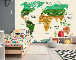 3d Dinosaur Fossil 291nao World Map Wallpaper Mural Removable Self-adhesive Amy