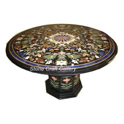 36 Marble Coffee Table Top Semi Precious Stones Inlay With Marble Stand