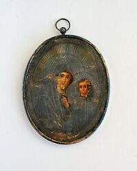 Antique Russian Orthodox Icon Mother Of God Our Lady Of Kazan 19 Th. Silver 84