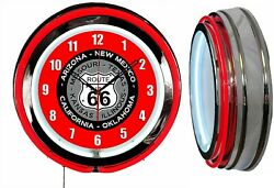 Route 66 With State Names 19 Red Double Neon Clock Man Cave Garage Shop
