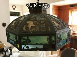 Vintage Stained Glass Hanging Light Fixture Chandelier