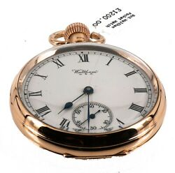 Waltham Pocket Watch In 9ct 375 Gold. Open White Dial. Double Backed. Running