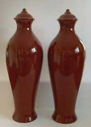 Curras Brothers Signed 1983 Impressive Pair Of Ceramic Art Pottery Vases 20 H