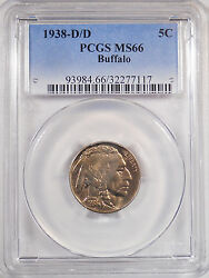 1938d/d Type 2 Pcgs Ms66 Buffalo Nickel F.shipping Indian Head 5 Cent Coin 101