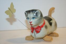 Rare Vintage Kohler Gnk Kitty Cat Chasing Butterfly German Tin Litho Wind Up Toy