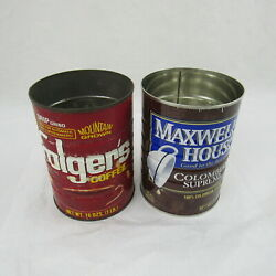 Coffee Tin Cans Folgers Maxwell House Vintage Collectible Red Brown Keepsake