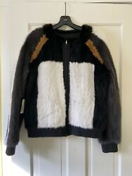 Dennis Basso Dyed White/gray/black/camel Mink Jacket With Scarf 5700