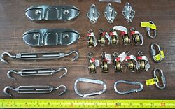 23 Qty -bulk Mix Lot- Ss Boat Fold Away Tie Down Turnbuckles Pulleys Stainless