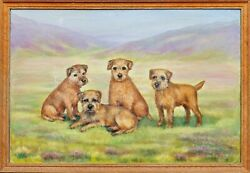 Early 20th Century Border Terrier Dogs Portrait