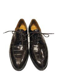Church's Prima Classe Glossy Brown Alligator Lace Up Men's Oxford Shoes