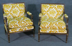 Exceptional Rosewood French Louis Xvi Square Back Fauteuil Open Arm Chairs C1950