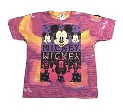 Vintage Walt Disney Company Mickey Mouse Shirt Large Pink Purple All Over Dye L