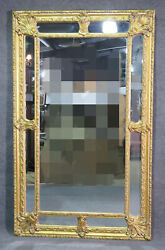 Palatian Carved Gilded 76 In Tall Beveled Glass Mirror C1950s