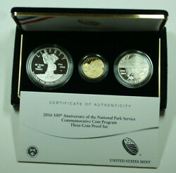 2016 National Parks Service Gold And Silver Commemorative Coin Set Proof W Box Coa