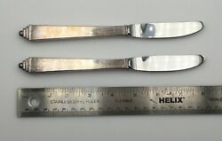 2 Pieces Georg Jensen Pyramid Sterling Silver Serving Flatware Knives 8 3/16andrdquo