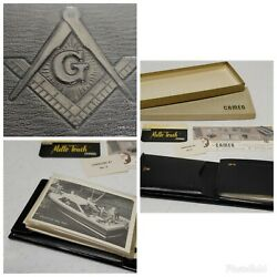 Vintage 60's Free Mason Masonic Leather Wallet New With Original Box And Papers
