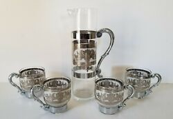 Tea Glass With Dragon Designs Silver Color Set Of 5 Pieces
