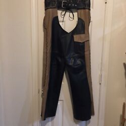 Mob Vintage Heavy Leather Black Brown Motorcycle Chaps W/zipper And Snaps Western