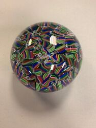 Baccarat Crystal Paper Weight Macedoine Multi-colored Millefiori With Box