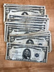 1953 Five Dollar Blue Seal Note Silver Certificate Old Us Bill 5 Free Shipping