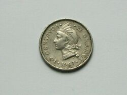 Dominican Republic 1967 10 Centavos Coin With Liberty Indian And Coat Of Arms