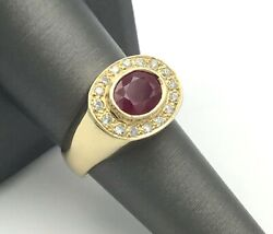 Estate Piece 14k Yellow Gold Diamond And Large Oval Ruby Ring Retail 2,000