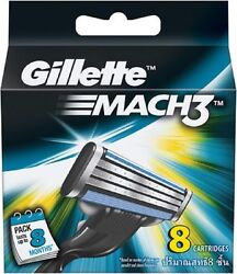 8 Blades Of Gillette Mach3 Cartidge Blade With Nano Thin Blades For Smooth Shave