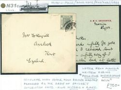Philippines War 1899 Letter Gb Naval Cover Posted Hong Kong 1899 Rare N31c